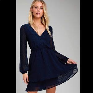 Lulus Sheer Sleeve Polka Dot Navy Skater Dress